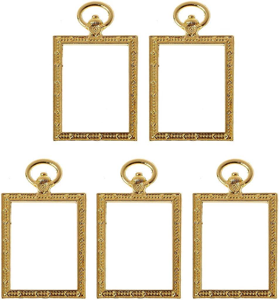 Qiulip - Juego de 5 Piezas de Marcos de Resina para Reloj de Bolsillo Cuadrado Dorado con biseles Abiertos