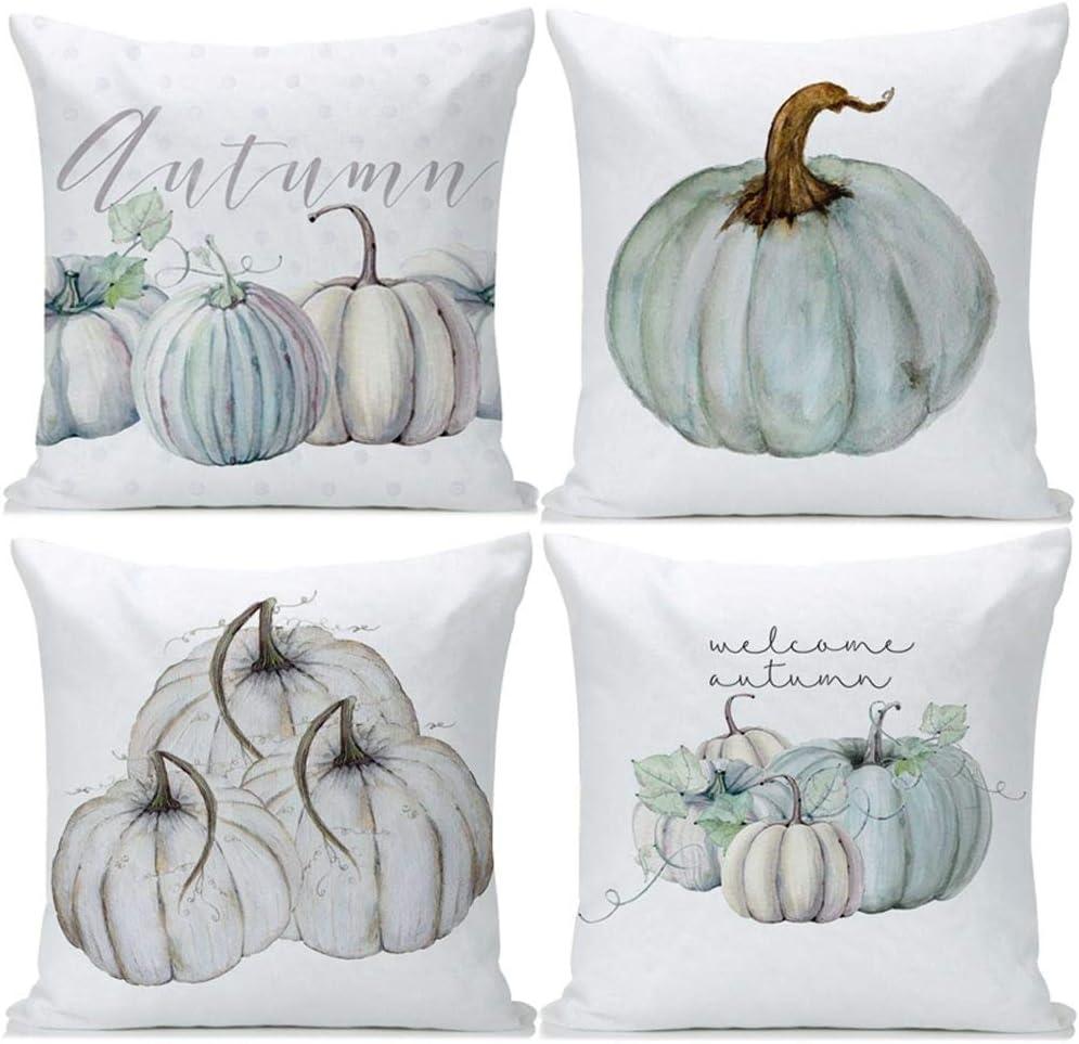 Guhoo Autumn Decorations Pumpkin Pillow Covers Set of 4 Fall Decor Cotton Linen Throw Pillow Covers Cushion Cover 18 X 18