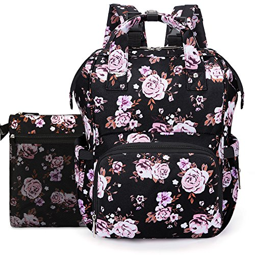 UtoteBag Diaper Bag Backpack Multi-Function Convertible Mom Travel Nylon Baby Nappy Bag Tote with Changing Pad & Insulated Pocket Compartment & Stroller Straps,Women (Black Rose)