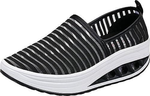 Yiiquanan Donna Traspirante Mesh Platform Sportive Pattini Fitness Scarpe da Ginnastica Sneaker da Zeppa (Nero,EU 37)