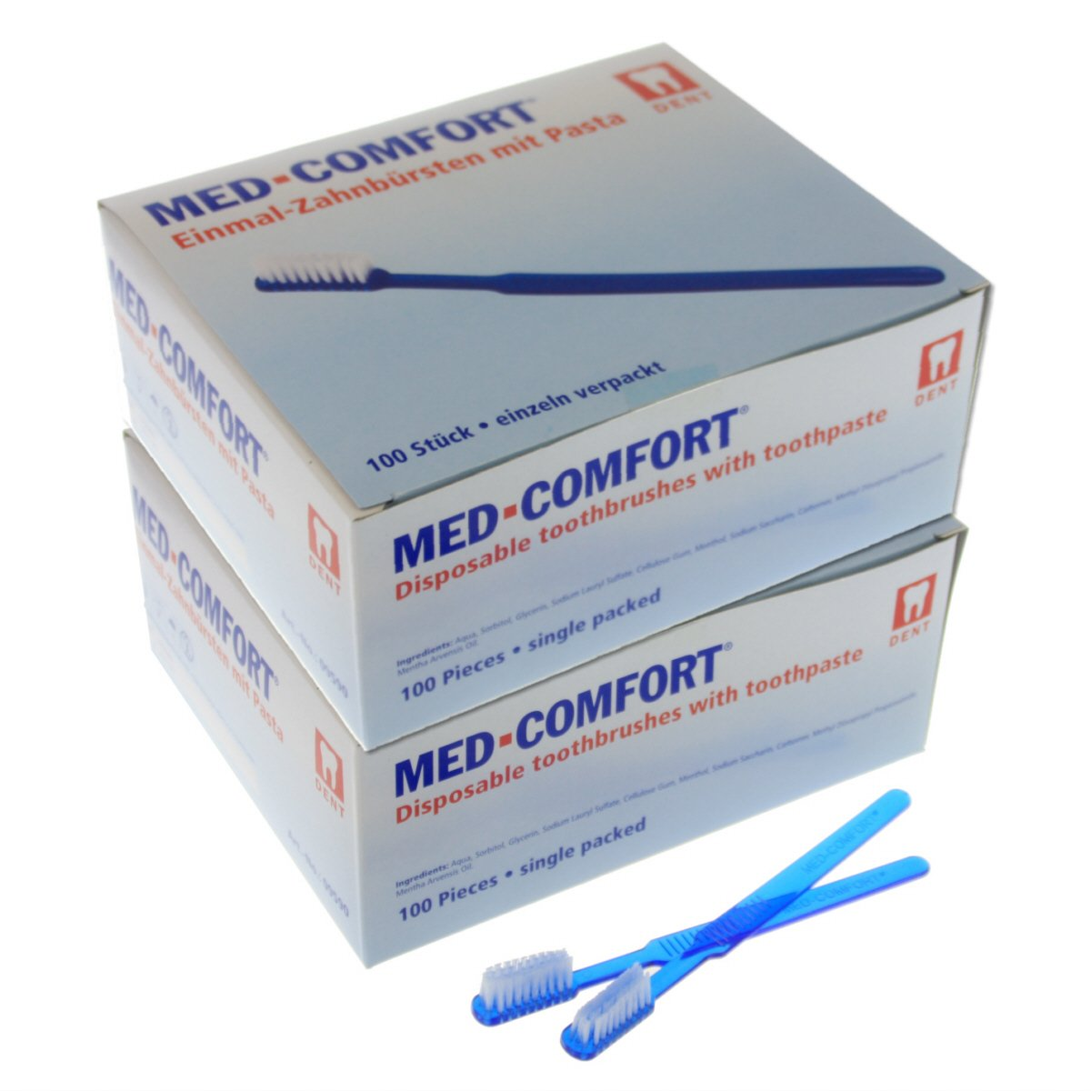 Una vez de cepillos de dientes Med de Comfort 2 x 100 unidades ...