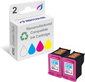 Generic Remanufactured Ink Cartridge Replacement For Hewlett Packard HP 63XL For DeskJet 1110 1112 2130 3630 3632 ENVY 4520 OfficeJet 3830 4650 - 2 Packs (2 Color)