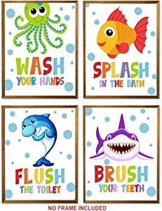 "Sea Themed Prints - Unframed, Set Of 4 Nursery Art Prints, Colourful Kids Decor, Wash Flush Brush Splash, Shark Octopus Fish Whale, Kids Bathroom (kids bathroom, 8"" x 10"")"