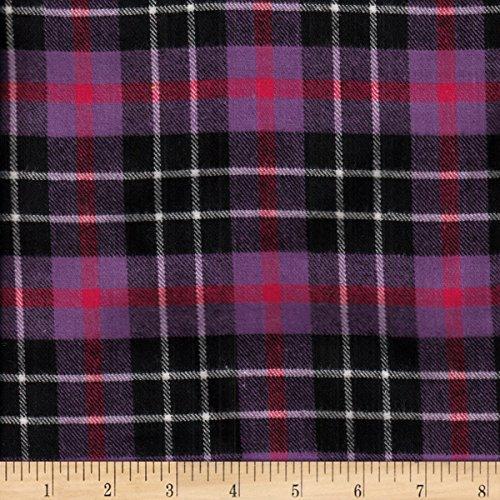 (Textile Creations Windstar Twill Flannel Plaid Purple/Fuchsia/Black/White Fabric by the Yard )