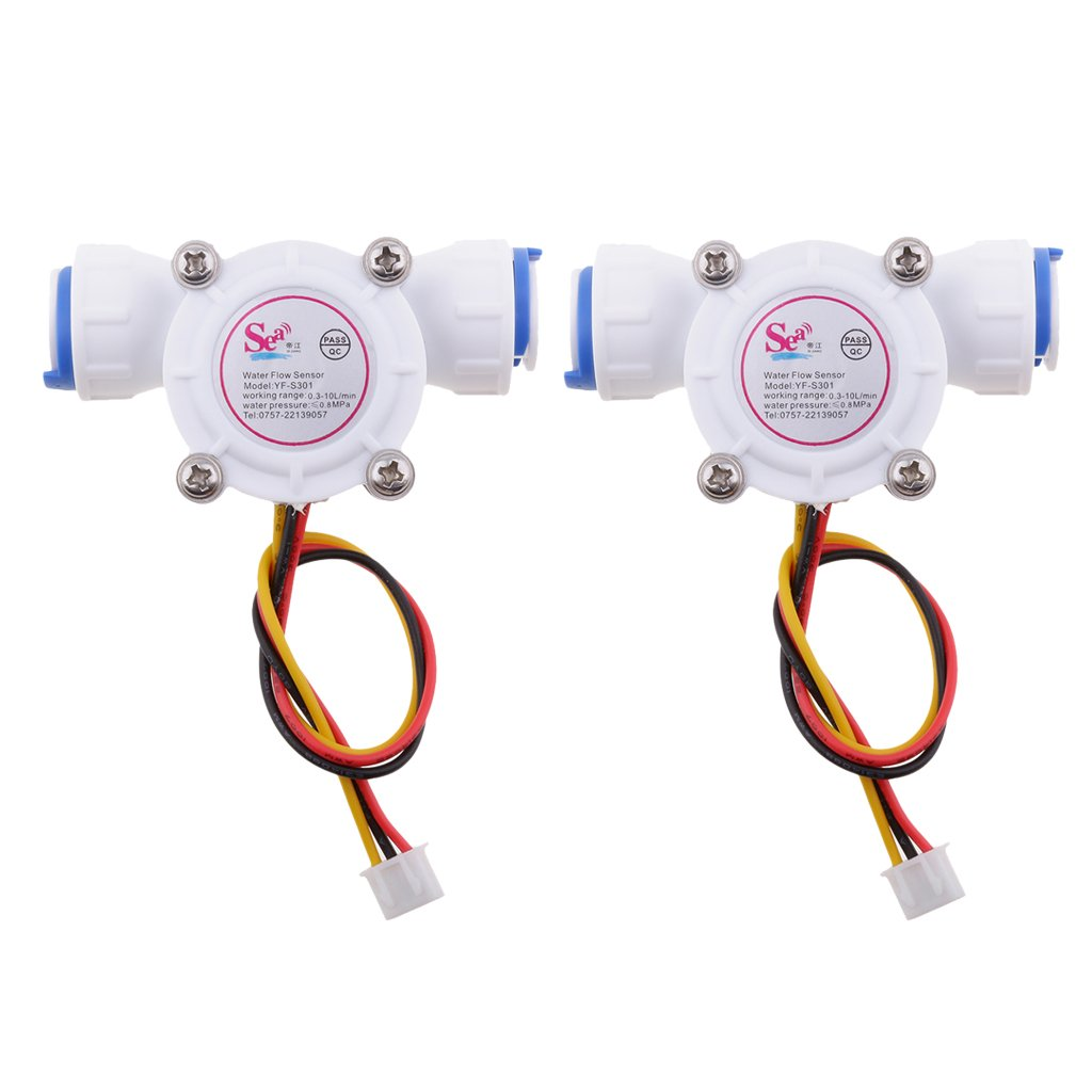 Homyl 2Pieces 3/8'' Quick Connect 0.3-10L/min Water Hall Effect Flow Sensor Meter 0.8MPa