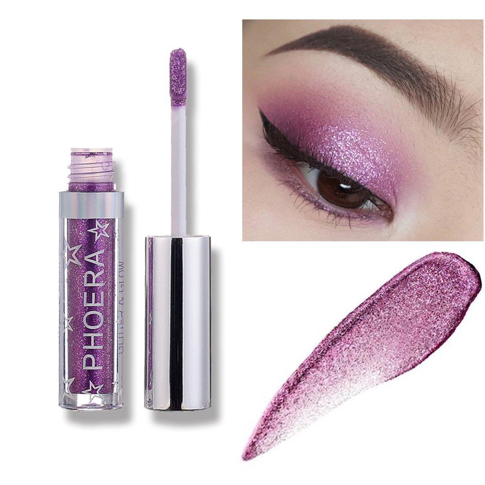 Liquid Eye Shadow, KISSION 12 Colors Metallic Eyeshadow Waterproof Glitter & Glow Shimmer & Luster Pigment Liquid Eyeliner(Midnight)