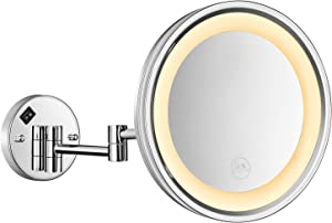 No branded 10 Inch LED Wall Mount Makeup Mirror with 5X Magnification Makeup Mirror with Led Lights Polished Stainless Steel Chrome Finish, On/Off Button, Plug Powered