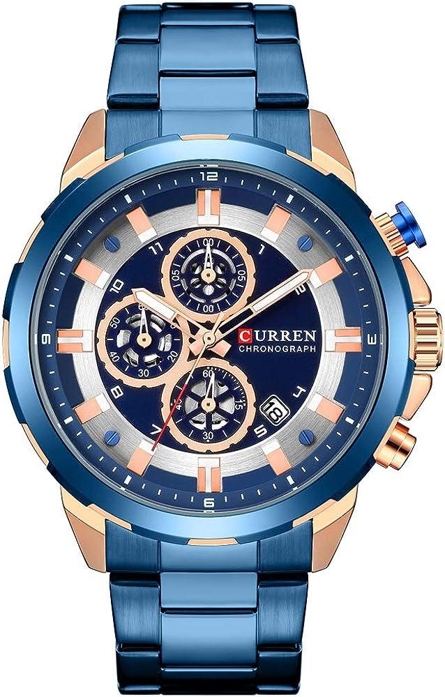 Mens Watches,CURREN Quartz Analog Calendar,Wrist Watch for Men, Fashion Waterproof Stainless Steel Band-Black