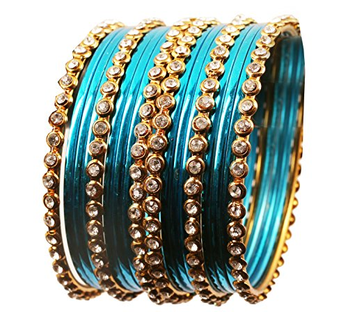Touchstone Colorful Collection Indian Bollywood Alloy Single Line Clear Rhinestone And Textured Aqua Blue Color Bangle Bracelets Set of 18 In Antique Gold Tone For Women. (Rhinestone Aqua Bracelet)