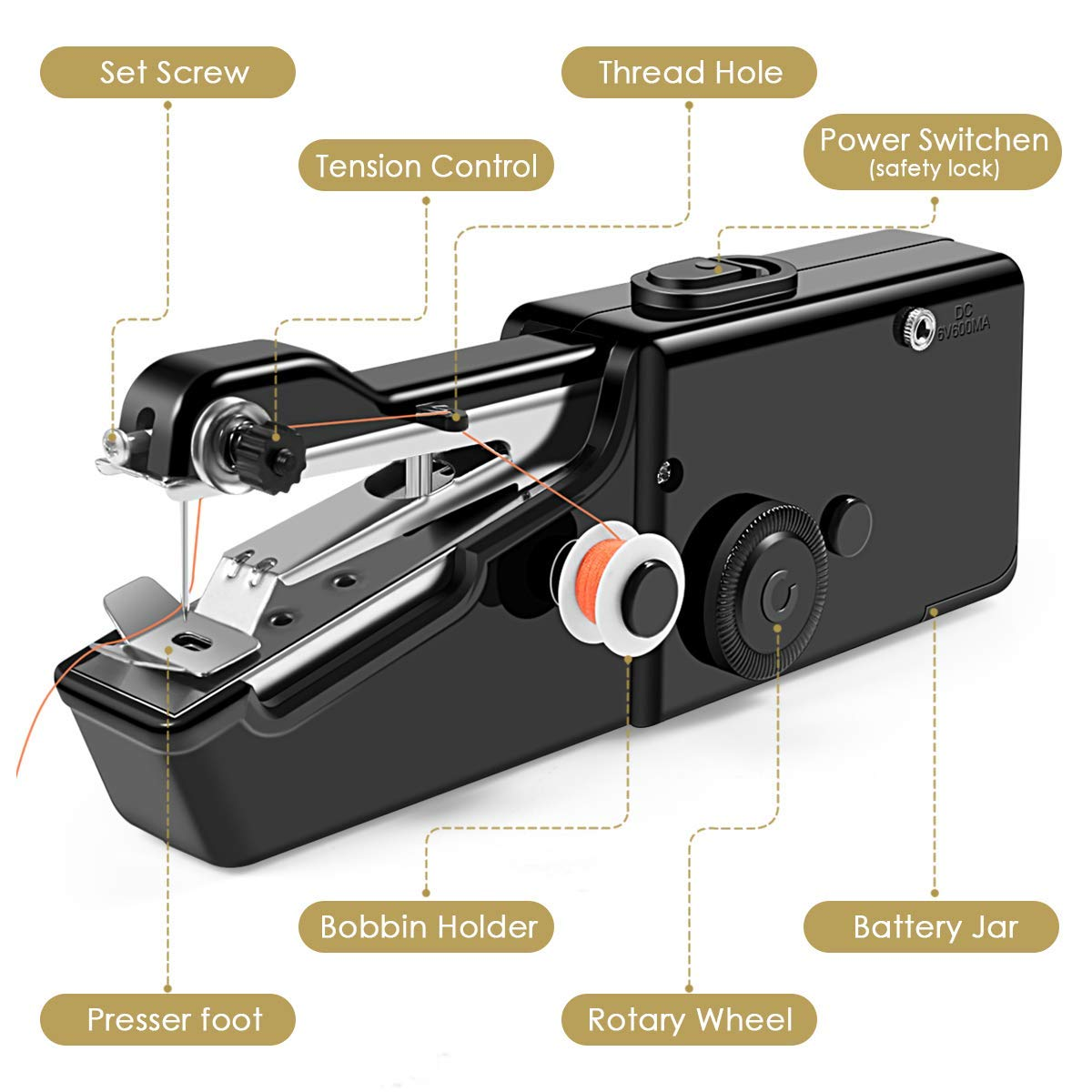 Handheld Sewing Machine Cordless Handheld Electric Sewing Machine Quick Handy Stitch for Home or Travel