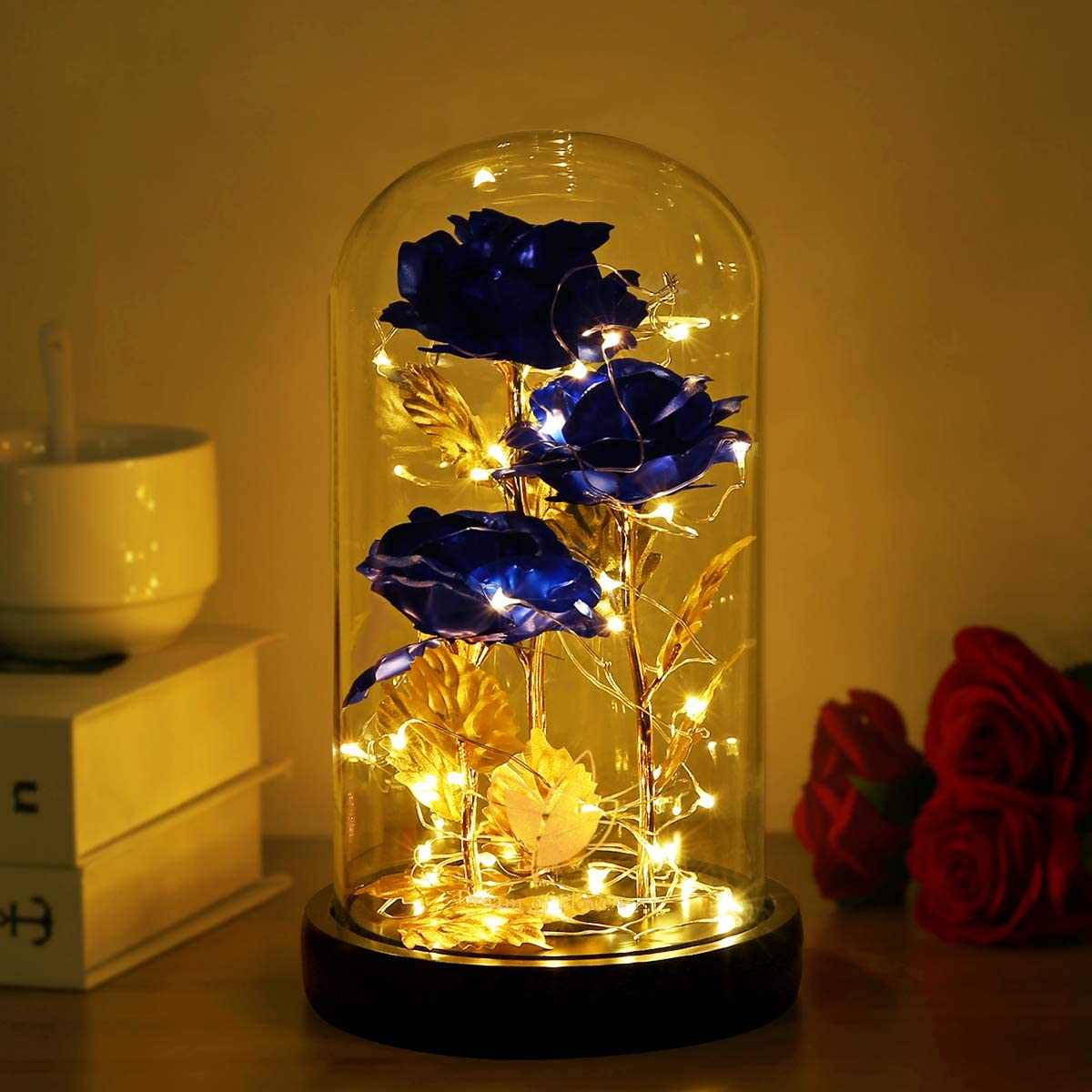Galaxy Rose Artificial Rose, Colorful Gold Foil Rose Enchanted Red Rose, Beauty and The Beast Rose in Glass Dome with Lights for Home Decor Unique Gifts for Women (Blue)