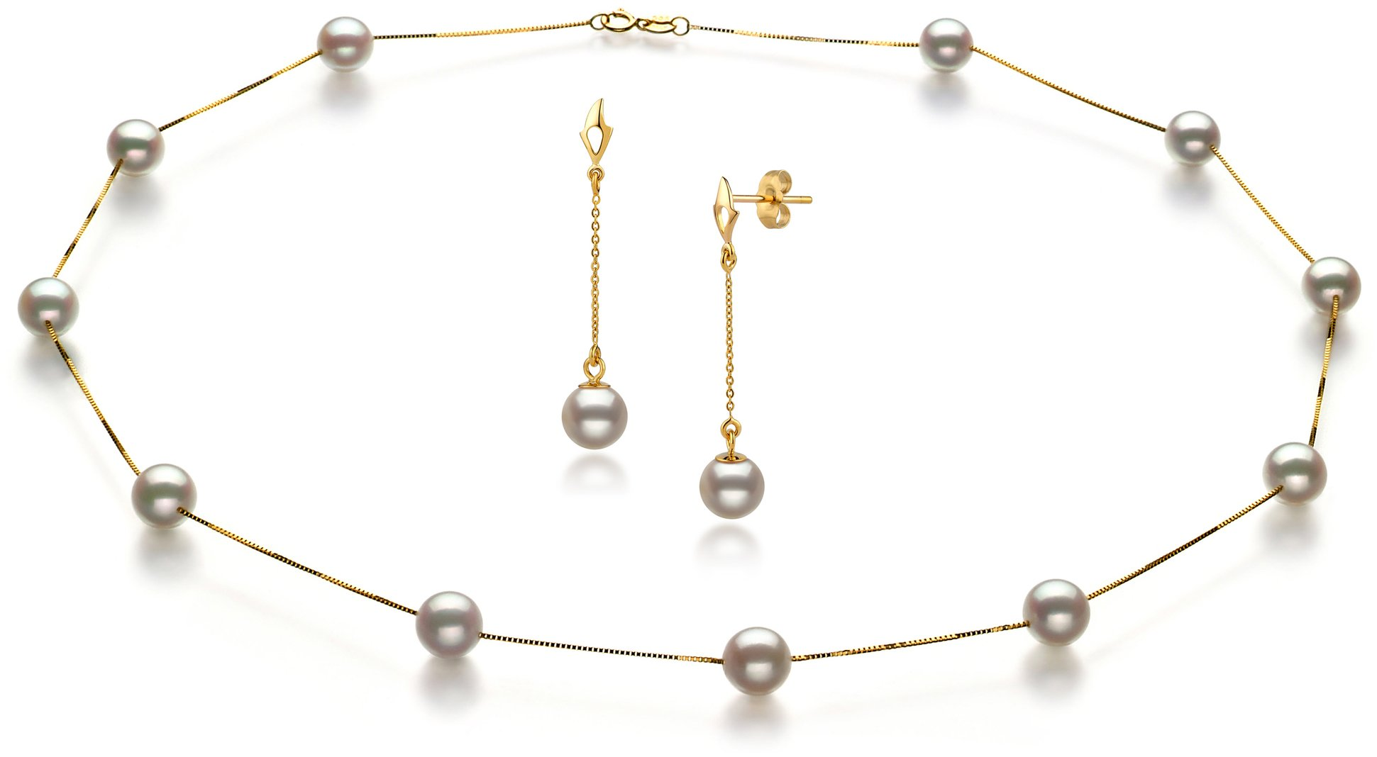 PearlsOnly - Tin Cup White 6-7mm AA Quality Japanese Akoya 14K Yellow Gold Cultured Pearl Set