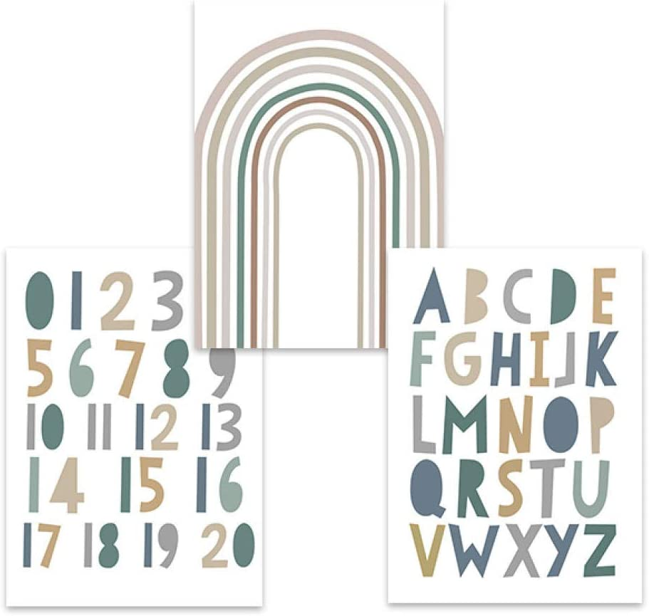 Nordic style ABC Alphabet Canvas Art Print Numbers Poster Rainbow Wall Art Painting Posters Nursery Wall Pictures Baby Room Decor-40x60cmx3(no frame)