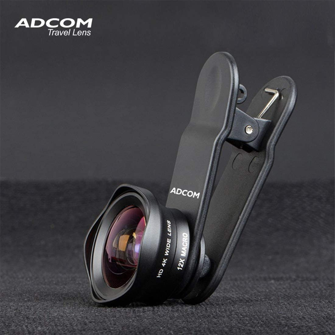 Adcom Wide Angle + Macro Clip on Mobile Phone Camera Lens - Compatible with All iPhone & Android Smartphones (Black)