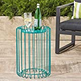 Great Deal Furniture Pony Outdoor 22 Inch Matte Teal Finish Metal Side Table