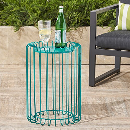 Great Deal Furniture Pony Outdoor 22 Inch Matte Teal Finish Metal Side Table by Great Deal Furniture