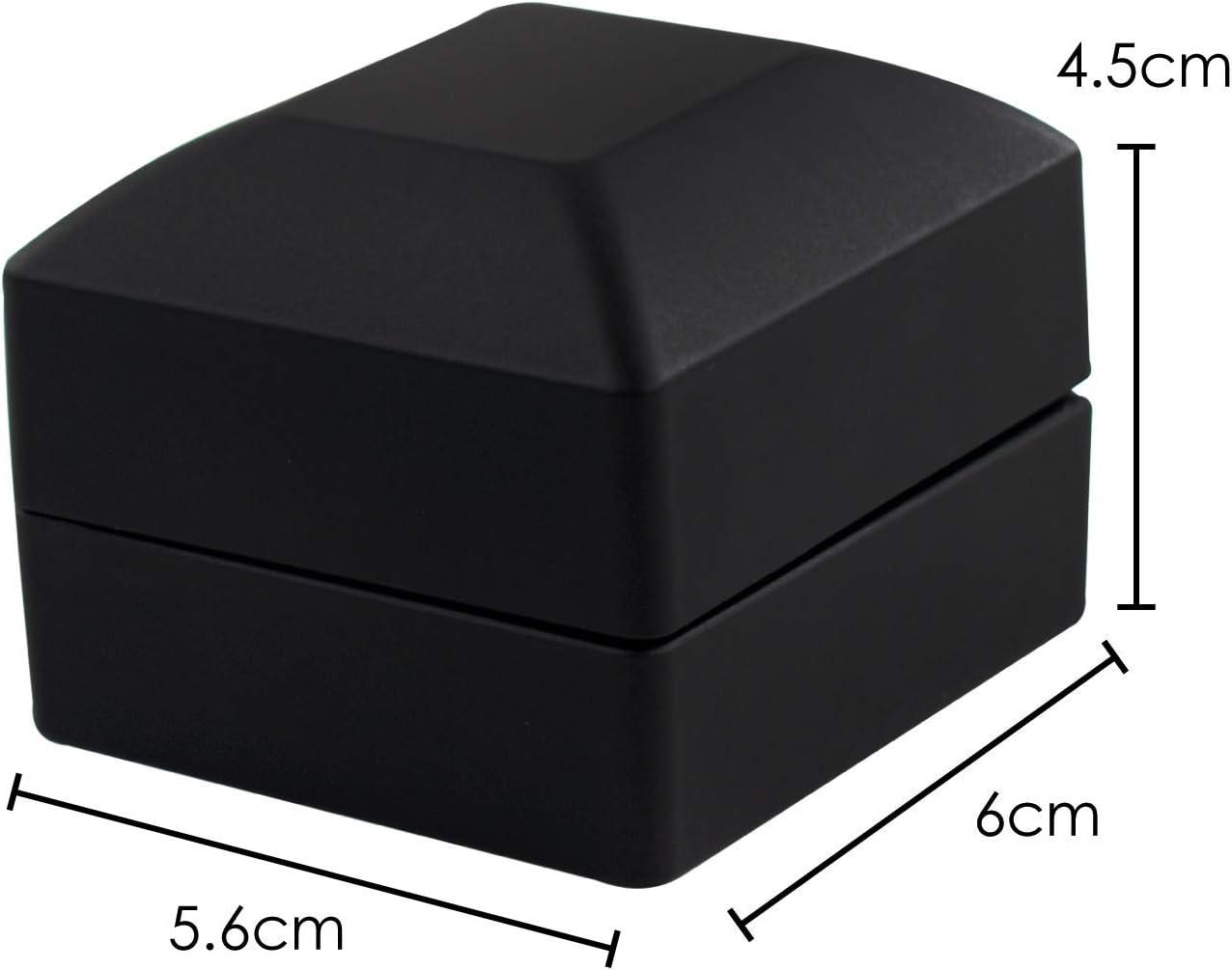 Bo/îte /à Bijoux carr/ée 6,5 x 6 x 5 cm TRIXES Ring Box Noir avec int/érieur en Velours Ecrin /él/égant avec /éclairage LED L x l x H pour Mariage de fian/çailles