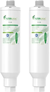 FilterLogic Garden Hose Water Filter, NSF Certified, Compatible with Mist Cooling System, Improve Plants Health, Reduces Chlorine, Odor, Calcium, Ideal for Gardening and Pets, Pack of 2