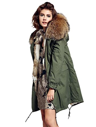 Melody Women's Raccoon Fur Collar Hooded Long Coat Parkas Outwear ...