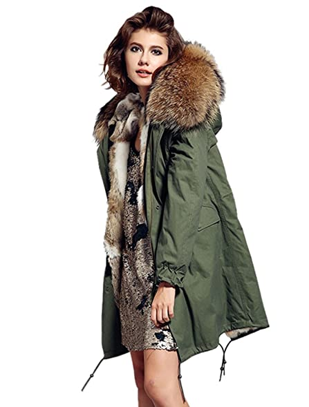 Melody Women's Army Green Large Raccoon Fur Collar Hooded Long ...