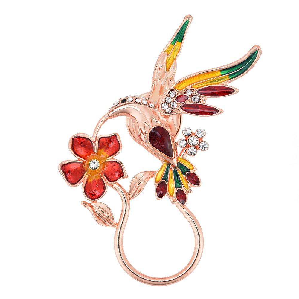 GUANDU Enamel Rhinestone Hummingbird Magnetic Eyeglass Holder for Women Teen Girls (Rose Gold)