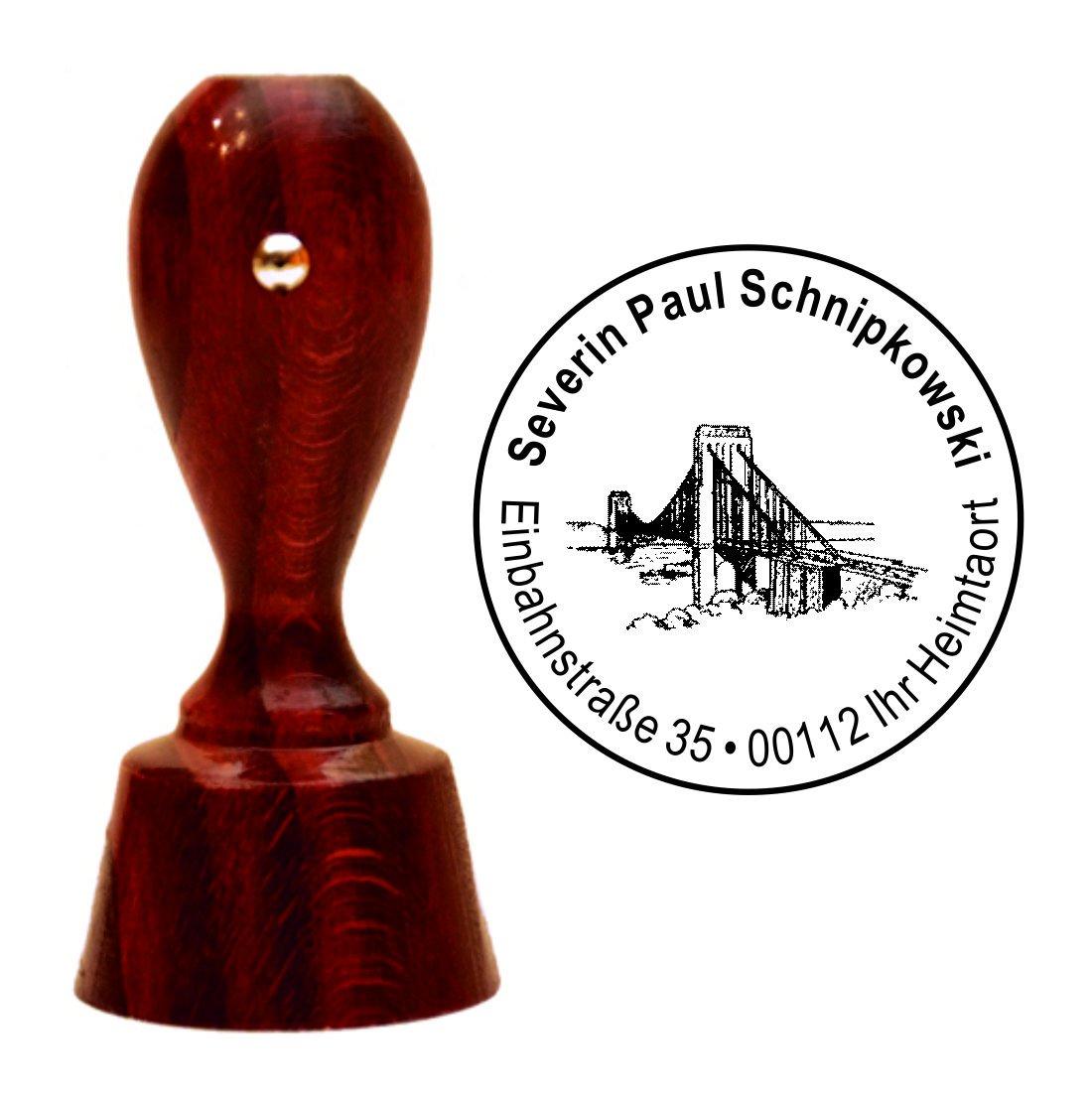 Exclusivo sello de direcciones « Oro Gate Bridge » » » con su redonda de direcciones caoba farbener sello Estados Unidos cc1bd1
