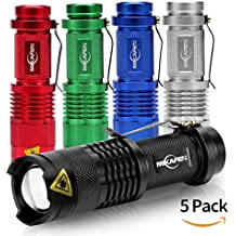 5Pack Flashlights Mini Cree Q5 Led Torch 300lm 3 Modes (Light - Low Light - Strobe)adjustable Focus Zoomable Flashlight