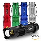 5Pack Flashlights Mini Cree Q5 Led Torch 300lm Review and Comparison