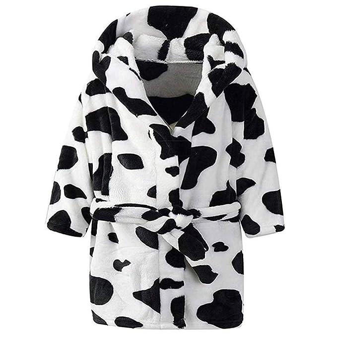 Batas de Baño Bebés, LANSKIRT Pijamas Unisex Bebé Niños Niñas Impresión de la Vaca Franela Batas de Baño con Capucha Pijamas de Toalla Vestido de Noche: ...