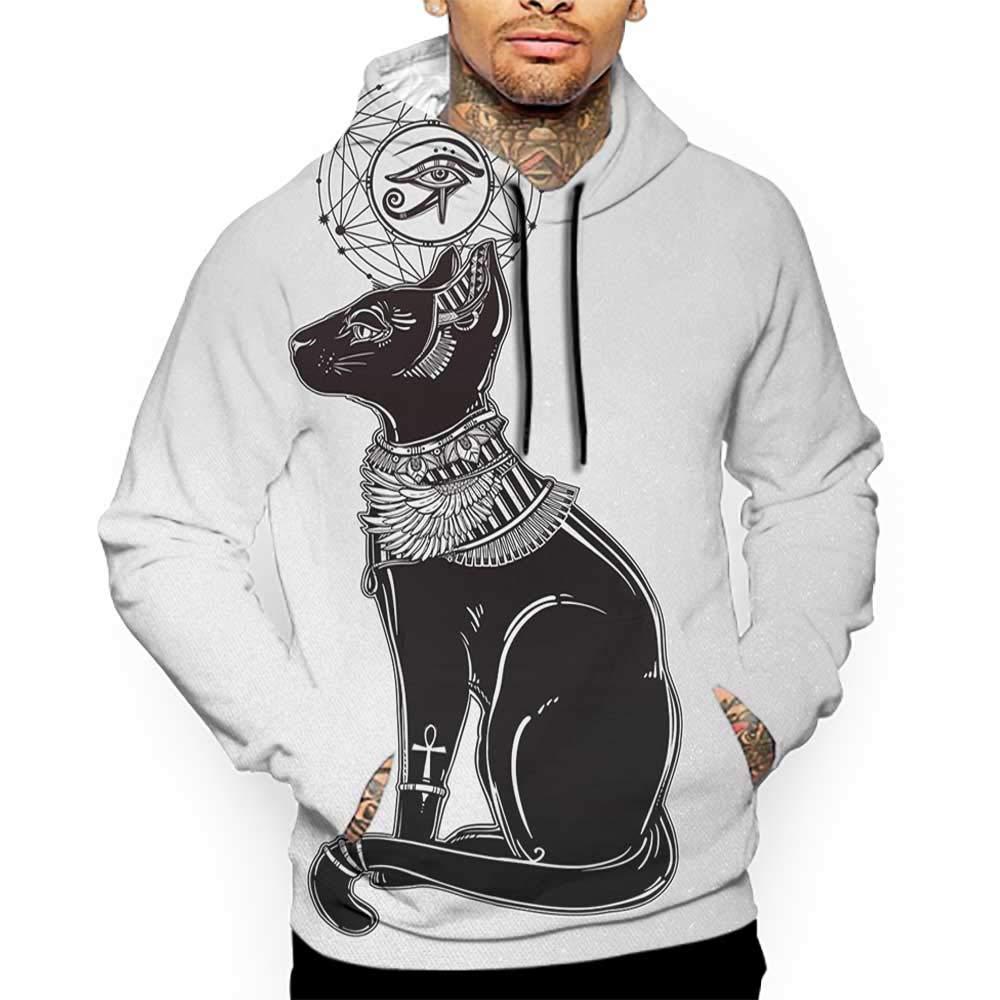 Hoodies Sweatshirt/Men 3D Print Occult,Vintage Legendary Mystical Egyptian Cat Sphinx Icon Eastern Design Artwork Print,Black Grey Sweatshirts for Men Prime