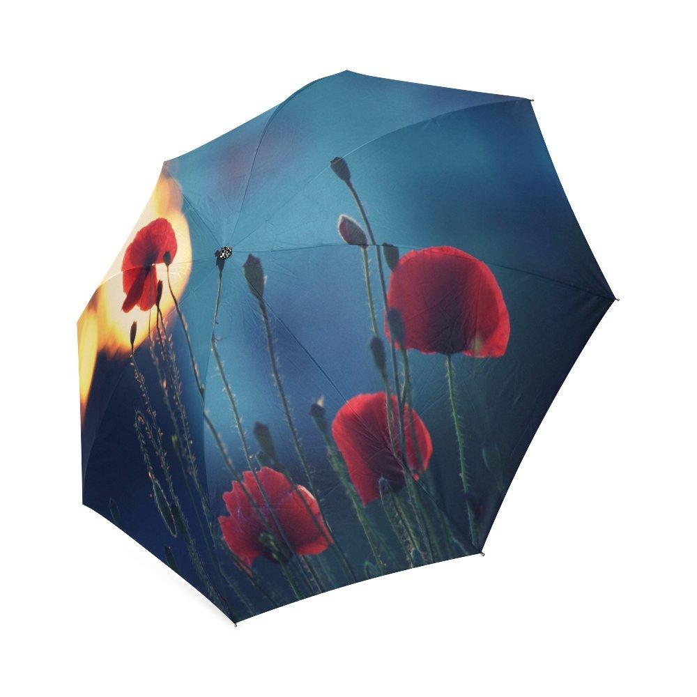 カスタムレッドPoppy Flowerコンパクト旅行防風防雨折りたたみ式傘 B075HHD417