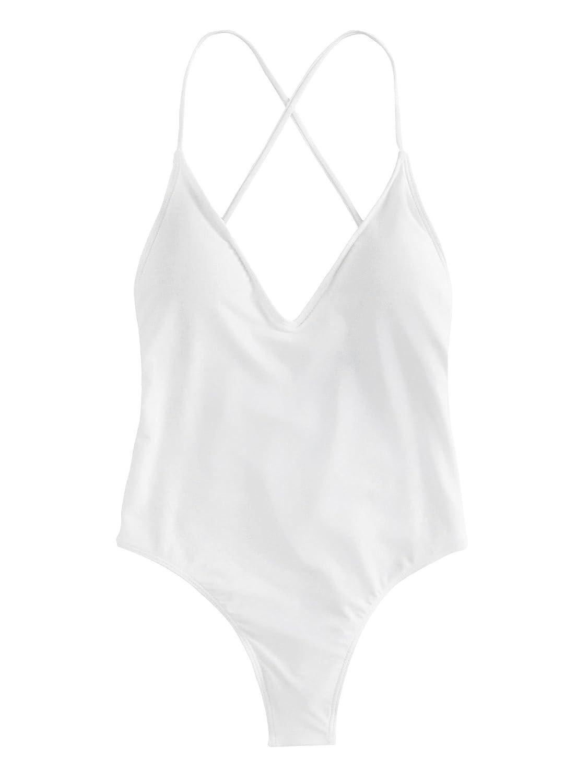 TALLA M. SOLYHUX Mujer Ropa de Baño Vestido de Playa Set Biquini una Pieza con Cuello En V con Cordones Cruzados En La Espalda, Rojo Tamaño S-L