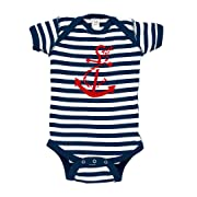 Anchor Baby Bodysuit (0-3 months/newborn, Navy Blue Stripes)