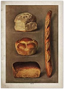 YFFYSY Vintage Bread Food Poster Baked Bread Loaves Wall Art French Antique Canvas Paintings Retro Prints Bakery Grocer Picture Kitchen Dining Room Decor 50x70cm No Frame B2