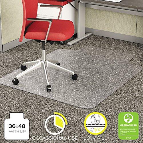 Deflecto CM11112 EconoMat for Low Pile Carpets, 36 x 48 w/ 19 x 10 Lip, Clear
