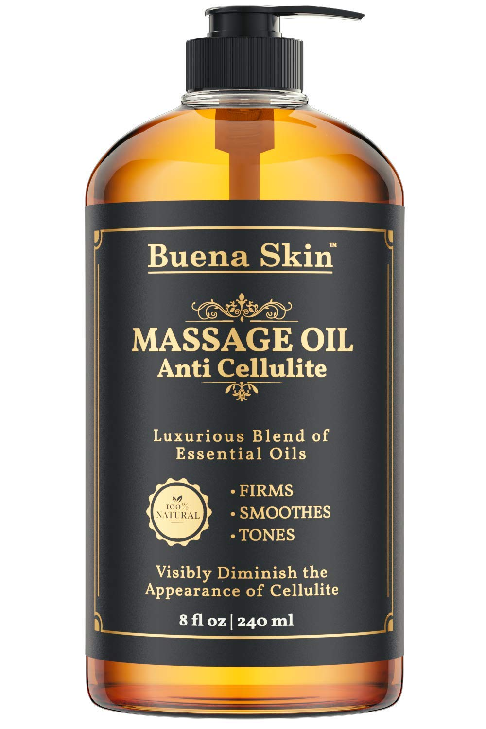 Cellulite Treatment Massage Oil - Penetrates Skin 6X Deeper Than Cellulite Cream -100% Natural Ingredients, Targets Unwanted Fat Tissue - by Buena Skin 8 OZ