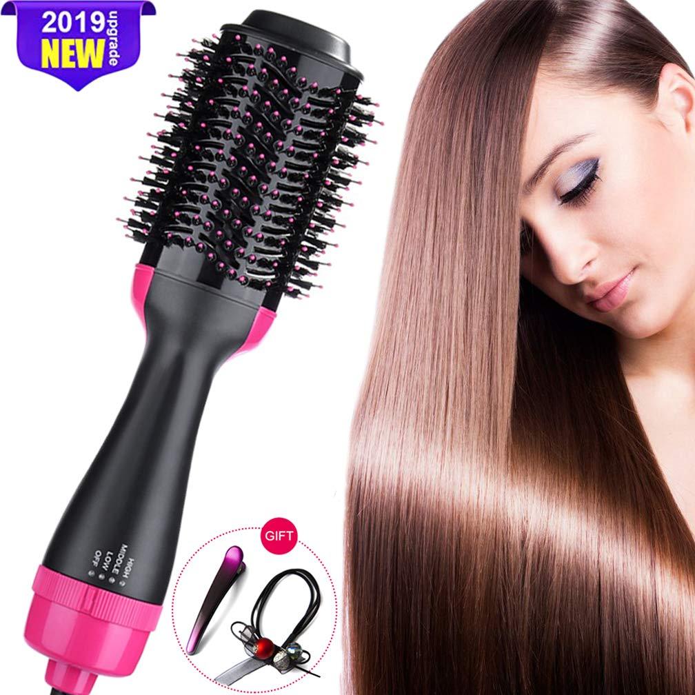 Hot Air Brush, Blow Dryer Brush, One Step Hair Dryer Volumizer, Ceramic Electric Blow Dryer, 3 in1 Styling Brush Styler Black Pink