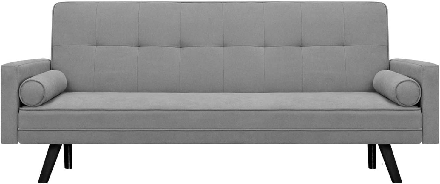 JUMMICO Futon Sofa Bed Modern Couch Bed Mid-Century Fabric Sofa Convertible Bench Seat for Living Room with Solid Wood Legs (Grey)
