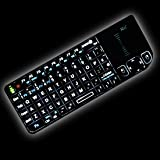 Rii Mini RT-MWK01V3 2.4GHz Wireless Entertainment Keyboard (with Laser pointer, Backlit) for PC, Pad, Andriod TV Box, Google TV Box, Xbox360, Raspberry PI, PS3 & HTPC/IPTV, (Black)