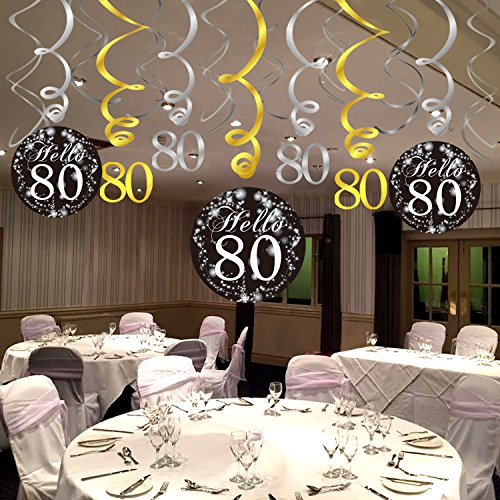 80th Birthday Party Decorations Konsait Hanging Swirl Black And Gold