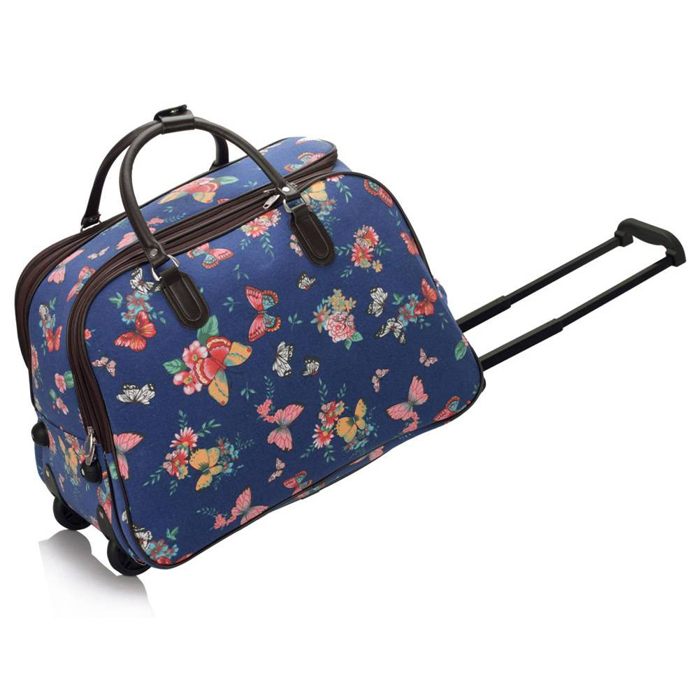 Trendstar Ladies Travel Bags HOLDALL Butterfly women hand luggage with wheels Trolley Weekend Purse