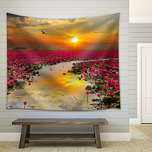 Sunshine Rising Lotus Flower in Thailand Fabric Wall Tapestry