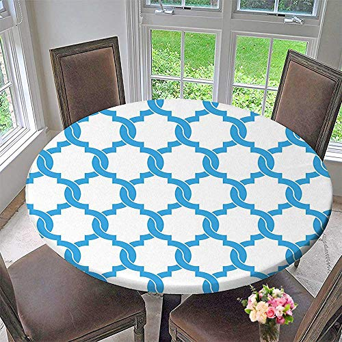 - Mikihome Picnic Circle Table Cloths Trellis Entangled Overlapping Oval Shapes in Blue Design Classical Stylized Blue White for Family Dinners or Gatherings 59