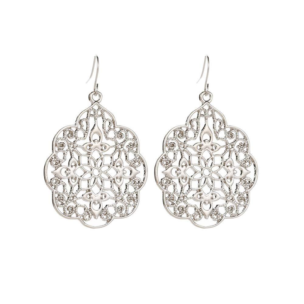 Women Boho Earrings, Minshao Jewelry Ethnic Drop Enamel Vintage Earrings (Sliver)