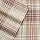 Cuddl Duds Queen Flannel Sheet with Deep Pockets, 4-Pieces - Blue Tan Plaid