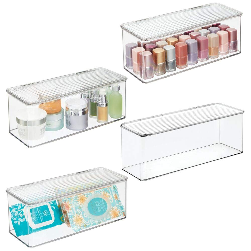 """mDesign Makeup Storage Organizer Box for Bathroom Vanity, Countertops, Drawers - Holds Beauty Blenders, Eyeshadow Palettes, Lipstick, Lip Gloss, Makeup Brushes - Hinged Lid, 13.4"""" Long, 4 Pack - Clear"""