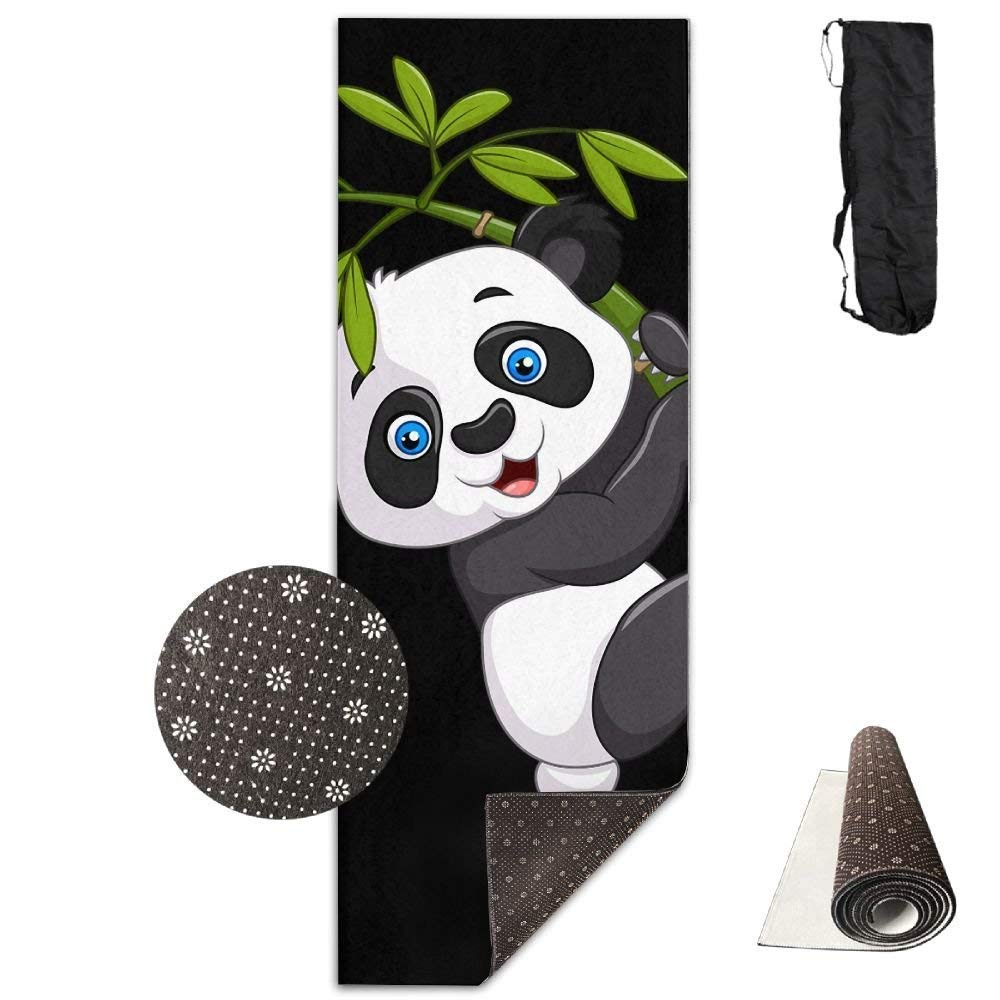 Yoga Mat Non Slip Cute Panda Printed 24 X 71 Inches Premium for Fitness Exercise Pilates with Carrying Strap