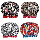 Shower Caps, Alimu 4 Pack Women Bath Caps Waterproof Double Layer Print Shower Hat Long Hair Perfect for Women