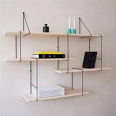 Amazoncom Bookshelf Nordic Wrought Iron Wall Multilayer