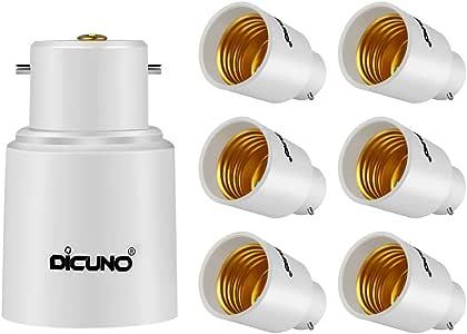 DiCUNO B22 to E27/E26 Socket Adaptor, Bayonet to Edison Converter, LED Light Bulbs Converter, Max Wattage 300W, 165 Degree Heat Resistant (6-Pack)